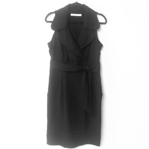 Zara Black Faux Wrap Dress with Pockets Sz L